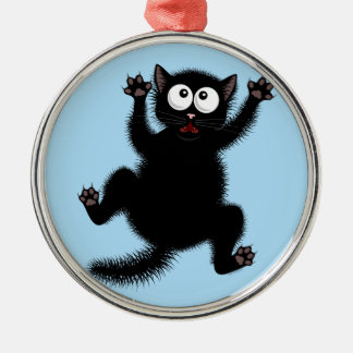 Funny Cute Black Scared Cartoon Cat, kitten Silver-Colored Round Decoration
