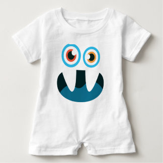 Funny Cute blue monster face open mouth Baby Bodysuit