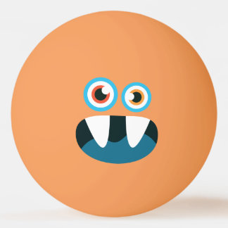 Funny  Cute Blue Monster. Ping Pong Ball