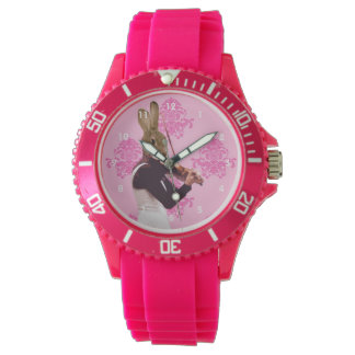 Funny cute bunny rabbit violinist watch