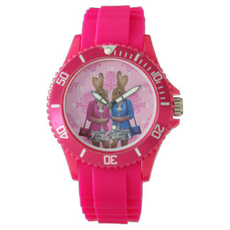 Funny cute bunny rabbits watch