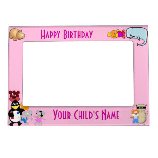 Funny cute cartoon animals on pink magnetic picture frame
