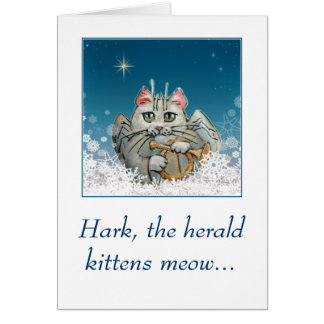 Funny cute cat angel Christmas card