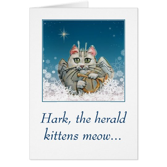 Funny cute cat angel Christmas card