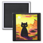 Funny Cute Cat Desert Colourful Sunset