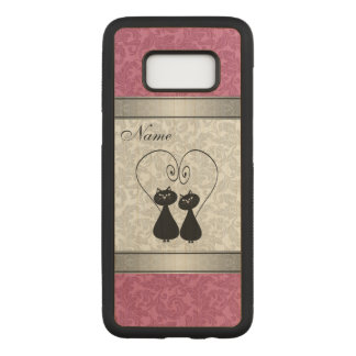 Funny cute cats in love damask personalized carved samsung galaxy s8 case