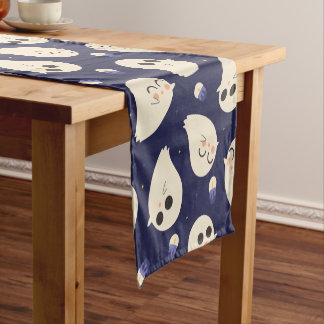Funny cute chibi Halloween ghosts navy blue