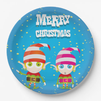 Funny Cute Christmas Elf Paper Plate