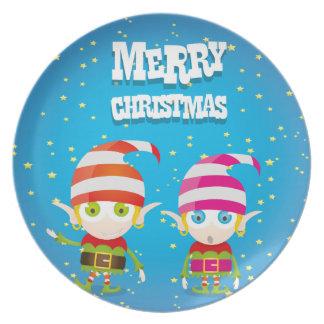Funny Cute Christmas Elf Plate
