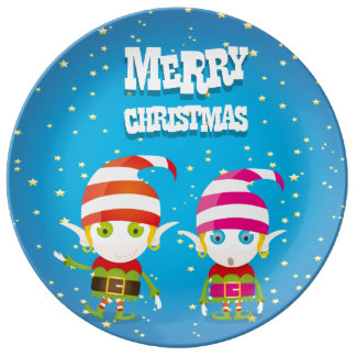 Funny Cute Christmas Elf Porcelain Plates