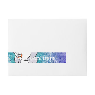Funny cute christmas mouse wraparound address label