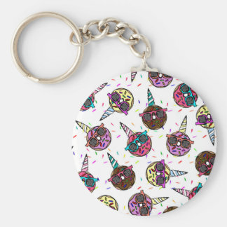Funny Cute Colorful Unicorn Donut with Sunglasses Basic Round Button Key Ring