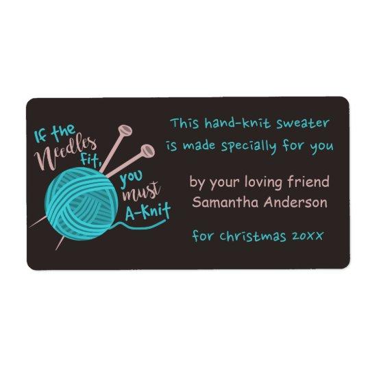 Funny Cute Custom Knitting Needles Yarn Joke Gift Shipping Label