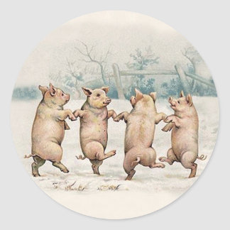 Funny Cute Dancing Pigs - Anthropomorphic Animals Round Sticker