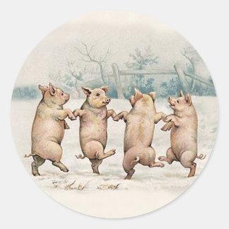 Funny Cute Dancing Pigs - Anthropomorphic Animals Round Sticker
