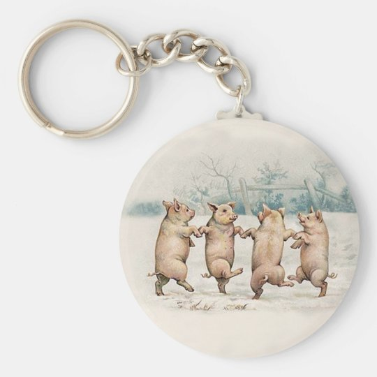 Funny Cute Dancing Pigs - Anthropomorphic Vintage Basic Round Button Key Ring