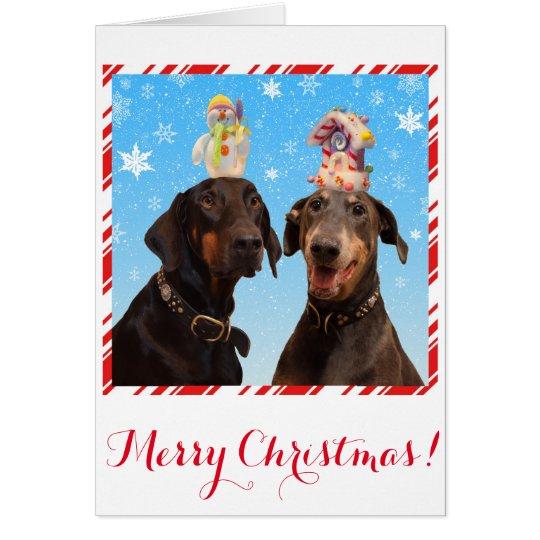 Funny, cute Doberman dog Christmas card