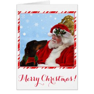 Funny, cute Doberman dog, Santa Christmas card