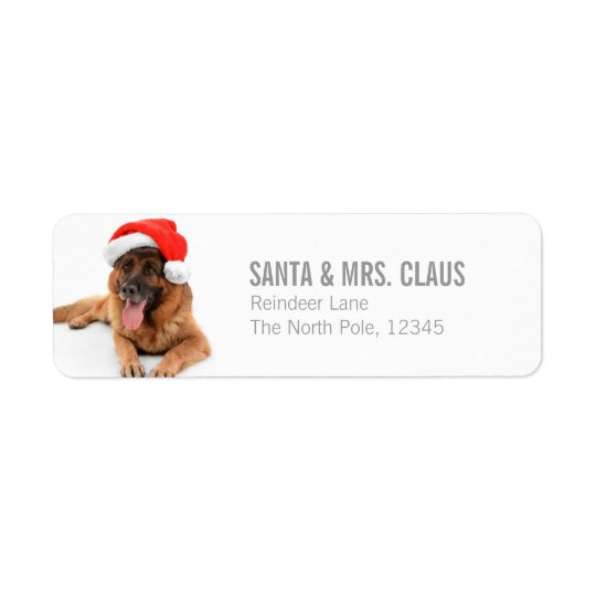 Funny Cute Dog In Christmas Hat Return Address Label
