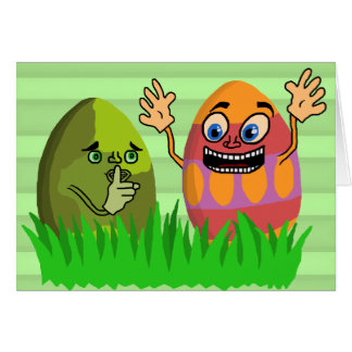Funny Cute Easter Eggs Cartoon Card