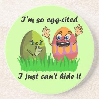 Funny Cute Easter Eggs Cartoon Beverage Coasters