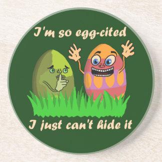 Funny Cute Easter Eggs Cartoon Beverage Coaster