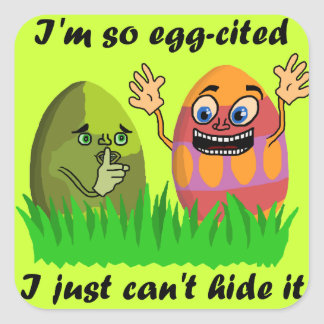Funny Cute Easter Eggs Square Sticker