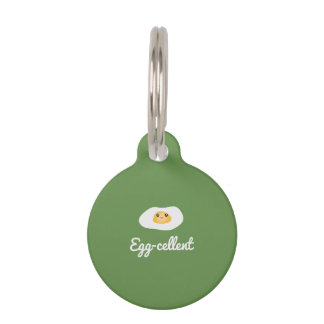 Funny Cute Egg Eggcellent Humorous Food Pun Fun Pet Tag