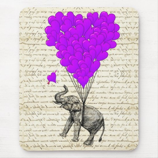Funny cute elephant and heart balloons mouse mat