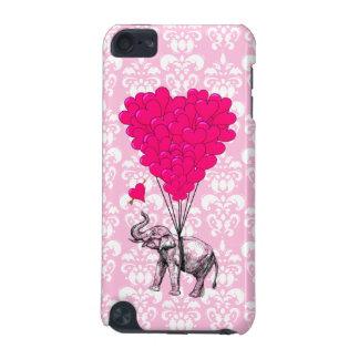 Funny cute elephant & pink damask iPod touch 5G case