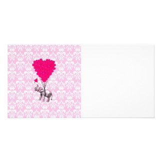 Funny cute elephant & pink damask photo card template