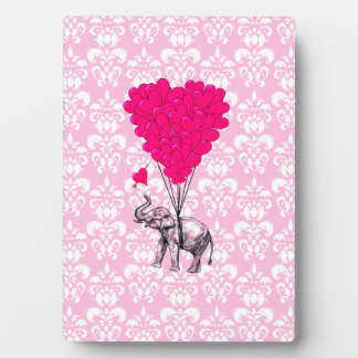 Funny cute elephant & pink damask plaque