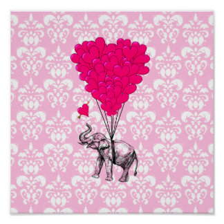 Funny cute elephant pink damask poster