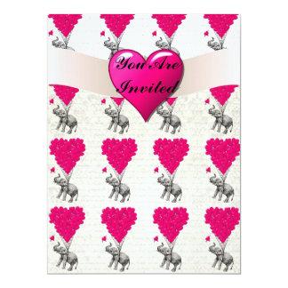Funny cute elephant & pink heart balloons 17 cm x 22 cm invitation card