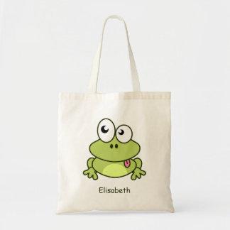 Funny cute frog cartoon budget tote bag