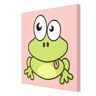Funny cute frog cartoon kids canvas print