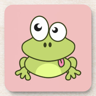 Funny cute frog cartoon kids coaster