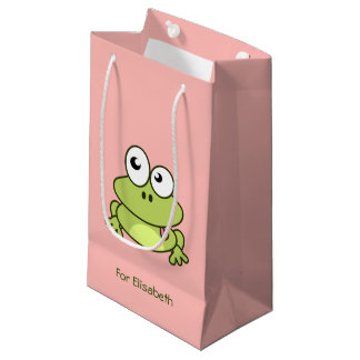 Funny cute frog cartoon kids name small gift bag