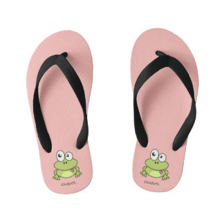 Funny cute frog cartoon name flip flops