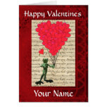 Funny cute frog  valentines day greeting card