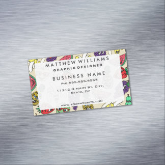 Funny Cute Fruit Illustrations Pattern Magnetic Business Cards