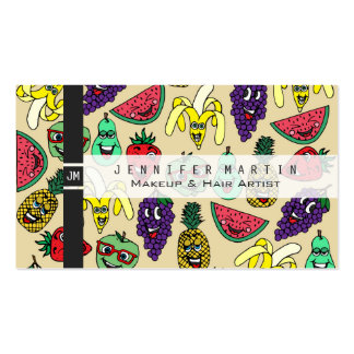 Funny Cute Fruit Illustrations Pattern Pack Of Standard Business Cards