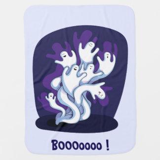 Funny cute ghosts halloween cartoon baby pramblanket