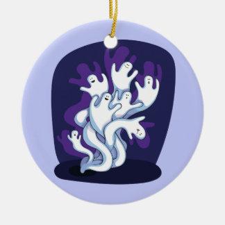 Funny cute ghosts halloween cartoon round ceramic decoration
