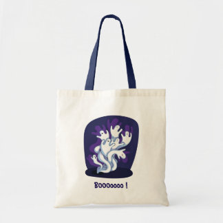 Funny cute ghosts halloween cartoon tote bag