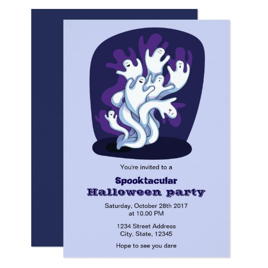 Funny cute ghosts kids halloween party invitation