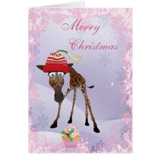 Funny Cute Giraffe & Pink Cupcake Christmas Card