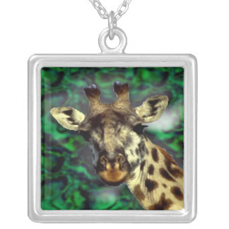 Funny cute Giraffe Silver Plated Necklace