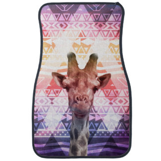 Funny Cute Giraffe Tribal Aztec Pink Purple Clouds Floor Mat