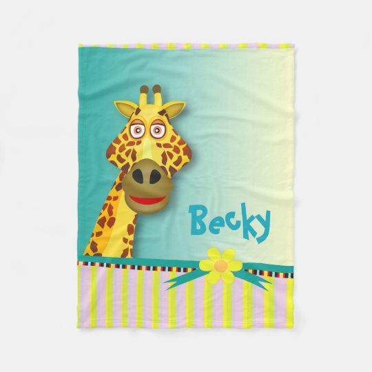 Funny Cute Giraffe | yellow teal Fleece Blanket